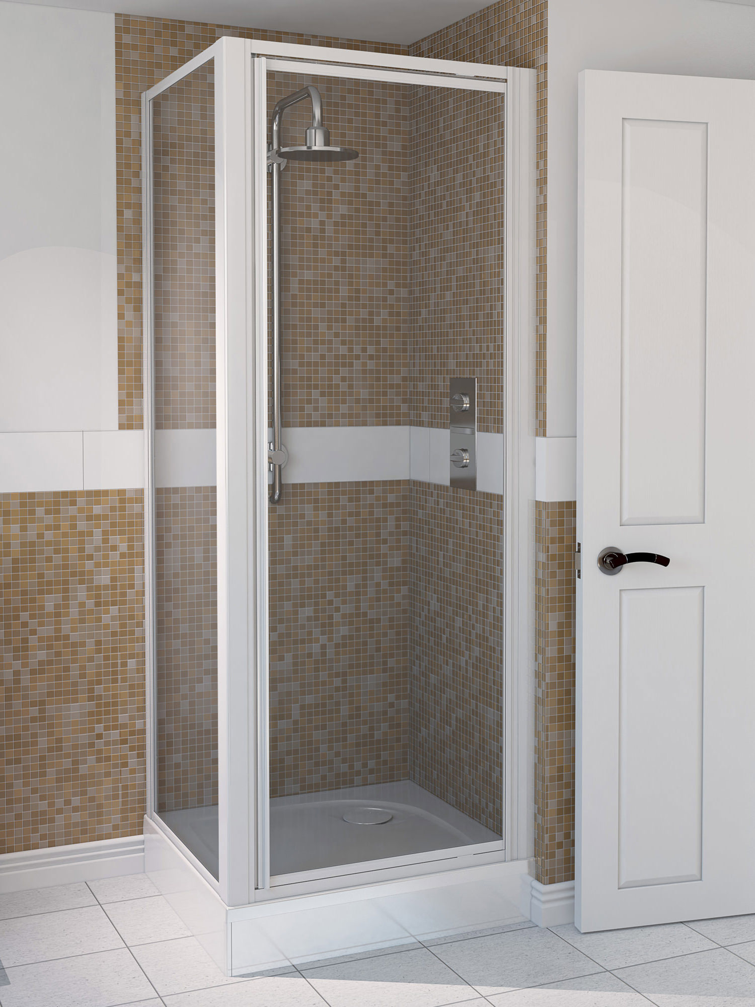 Aqualux aqua 4 760mm pivot shower door white Pivot entrance doors