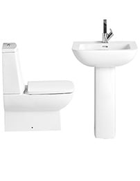 Heritage Sonic Square Close Coupled WC Set And Cloakroom Basin - Bundle 2