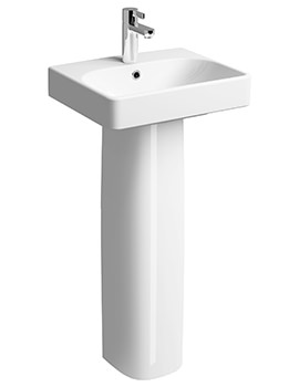 Twyford E500 Square 1 TH 450 x 360mm Handrinse Basin With Full Pedestal