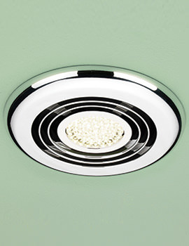 HIB Cyclone Warm White LED Illuminated Chrome Wetroom Inline Fan