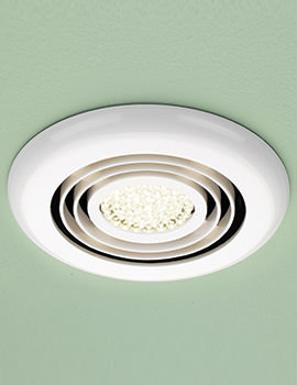 HIB Cyclone Warm White LED Illuminated White Wetroom Inline Fan