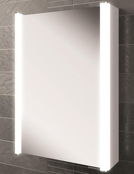 HIB Vita 50 Single Door LED Illuminated Aluminium Cabinet 500 x 700mm