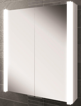 HIB Vita 60 Double Door LED Illuminated Aluminium Cabinet 600 x 700mm