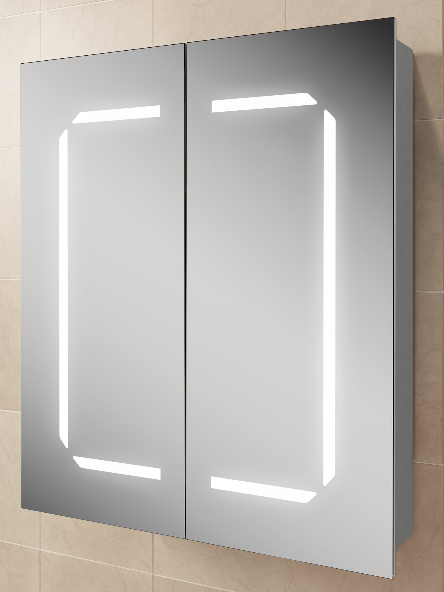 Hib zephyr 60 steam free led illuminated aluminium cabinet for Bathroom cabinets 700mm