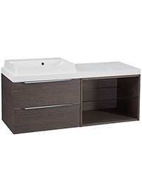 Tavistock Array Dark Java 600mm 2 Drawer Basin Unit With 600mm Open Unit