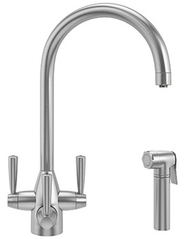 Franke FilterFlow Doric SilkSteel Kitchen Sink Tap With Hand Spray