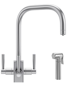 Franke FilterFlow Kubus SilkSteel Kitchen Sink Tap With Hand Spray