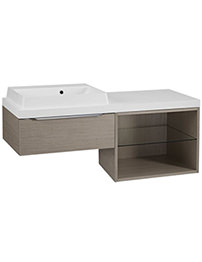 Tavistock Array Light Java 600mm 1 Drawer Basin Unit With 600mm Open Unit