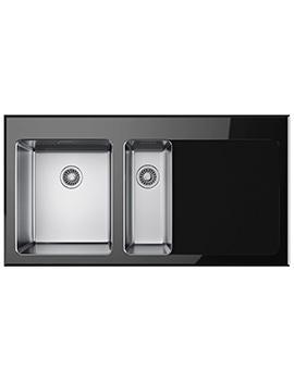 Franke Kubus KBV 651 1.5 Bowl Right Hand Drainer Black Glass Inset Sink