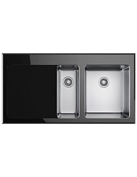 Franke Kubus KBV 651 1.5 Bowl Left Hand Drainer Black Glass Inset Sink