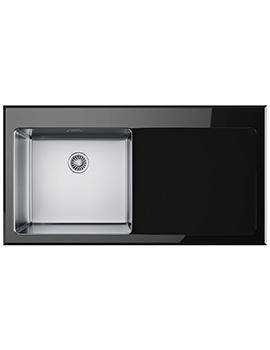 Franke Kubus KBV 611 Right Hand Drainer Black Glass Inset Sink