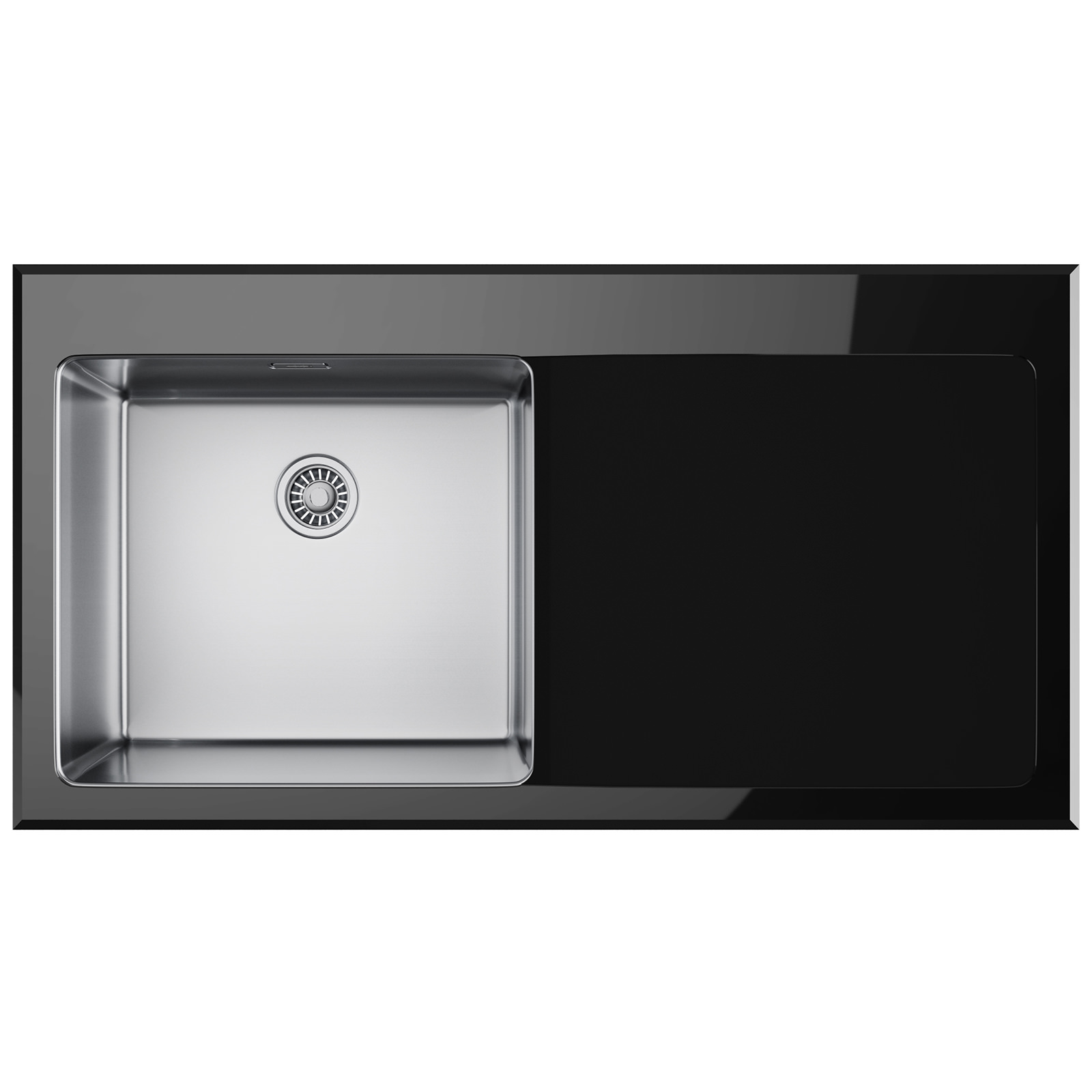 Franke Black Glass Sink : Franke Kubus KBV 611 Right Hand Drainer Black Glass Inset Sink