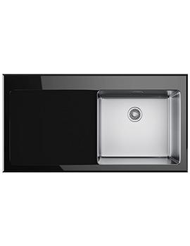 Franke Kubus KBV 611 Left Hand Drainer Black Glass Inset Sink