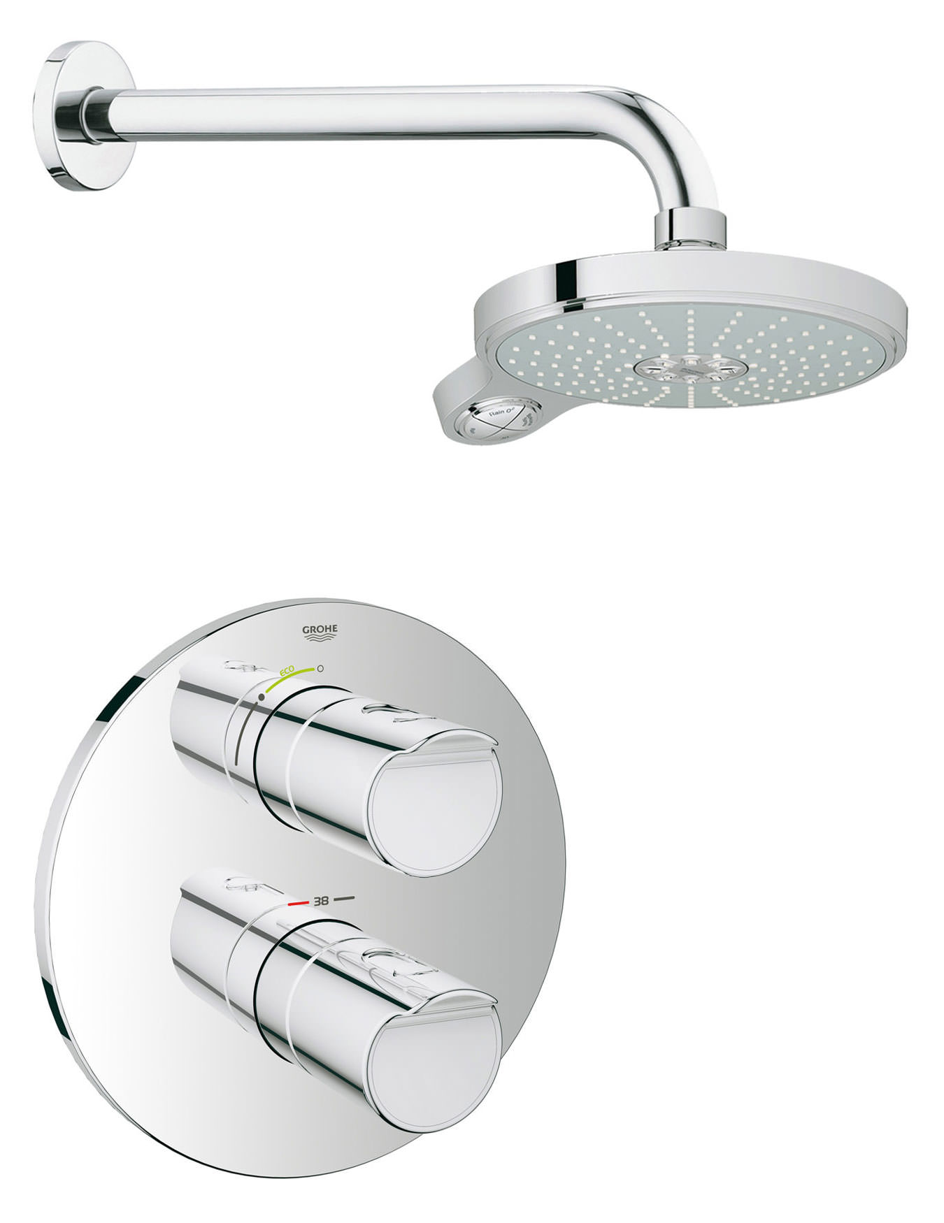 grohe grohtherm 2000 new plus power and soul shower solution pack 2. Black Bedroom Furniture Sets. Home Design Ideas