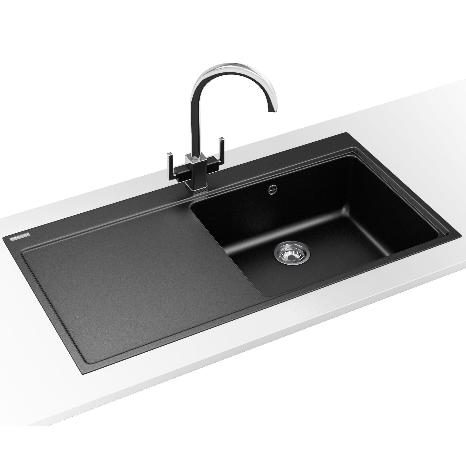 Franke Mythos MTG 611 DP-Fragranite Onyx LH Drainer Sink And Tap