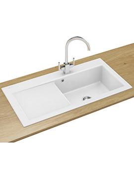 Franke Mythos MTK 611 DP - Ceramic White Left Drainer Sink And Tap