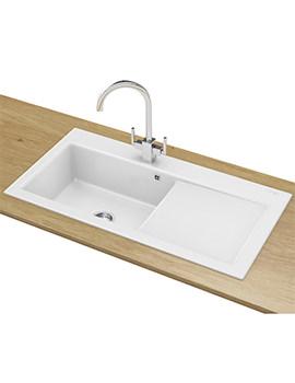 Franke Mythos MTK 611 DP - Ceramic White Right Drainer Sink And Tap