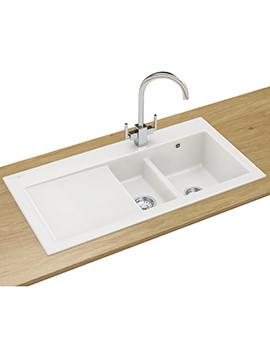 Franke Mythos MTK 651 DP - Ceramic White Left Drainer Kitchen Sink And Tap