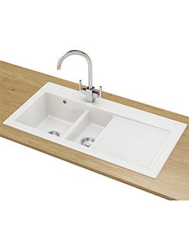 Franke Mythos MTK 651 DP - Ceramic White Right Drainer Kitchen Sink And Tap