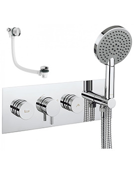 Crosswater Dial Bath Valve With Kai Lever Trim - Shower Handset And Filler