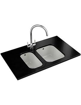 Franke VBK 110 21 + VBK 110 33 DP - White Ceramic 1.5 Bowl Sink And Tap