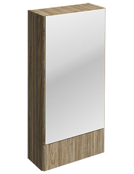 Twyford E100 Square Grey Ash Wood 418 x 850mm Mirror Cabinet
