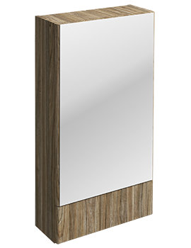 Twyford E100 Square Grey Ash Wood 464 x 850mm Mirror Cabinet