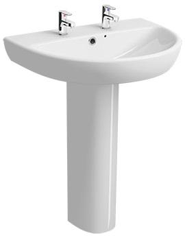 Twyford E100 Round 2 Tap Hole 650 x 500mm Washbasin With Full Pedestal