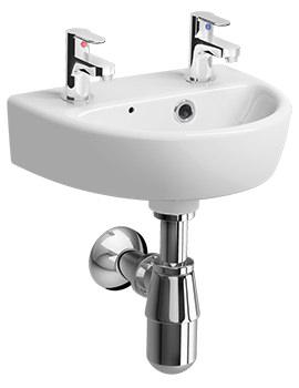 Twyford E100 Round 2 Tap Hole 360 x 290mm Handrinse Bathroom Sink