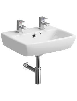 Twyford E100 Square 2 Tap Hole 450 x 350mm Handrinse Washbasin