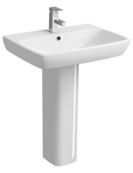 Twyford E100 Square 1 Tap Hole 650 x 480mm Washbasin With Full Pedestal