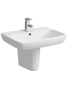 Twyford E100 Square 1 Tap Hole 650 x 480mm Washbasin With Semi Pedestal