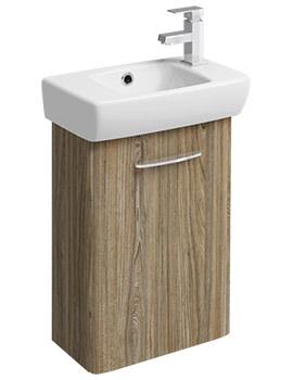 Twyford E100 Square 396mm Grey Ash Wood Cabinet And 450mm 1 RH Tap Hole Bathroom Sink