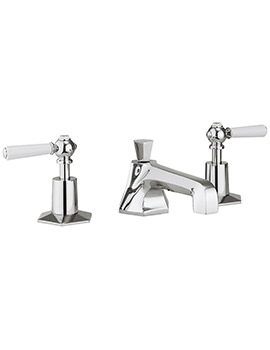 Crosswater Waldorf White Lever 3 Hole Deck Mounted Basin Mixer Tap Set