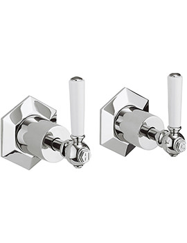 Crosswater Waldorf White Lever Pair Of Wall Mounted Stop Taps