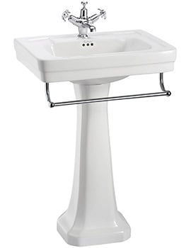 Burlington Contemporary 580mm Basin With Full Pedestal And Towel Rail