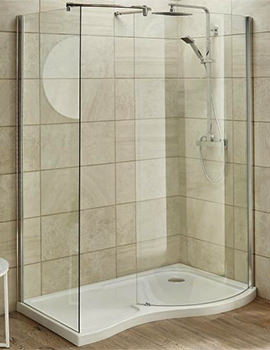 Nuie Premier Pacific Universal Curved 1400 x 906mm Walk-In Shower Enclosure