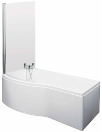 Lauren Curved B-Shaped 1500 x 900mm Left Hand Acrylic Shower Bath Pack
