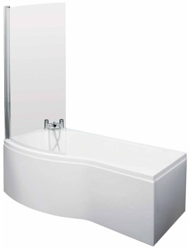 Lauren Curved B-Shaped 1500 x 900mm Left Hand Acrylic Shower Bath Pack