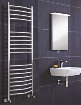Phoenix Thame 500x1500mm Pre-Filled Electric Curved Radiator Stainless Steel