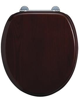 Burlington WC Seat Gloss Mahogany With Chrome Hinge