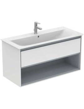 Ideal Standard Concept Air 1000mm Wall 1 Drawer With Open Shelf Vanity Unit