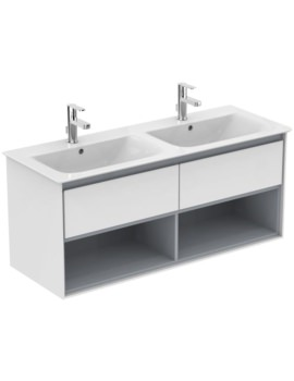 Ideal Standard Concept Air 1200mm Wall 2 Drawers With Open Shelf Vanity Unit