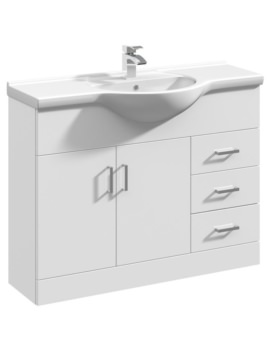 Beo 1050mm Floor Standing Vanity Unit And Basin High Gloss White