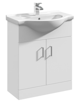 Beo Gloss White Freestanding 650mm Vanity Unit And Basin