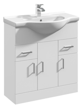 Beo Gloss White 750mm 3 Door And 2 Drawer Basin Vanity Unit