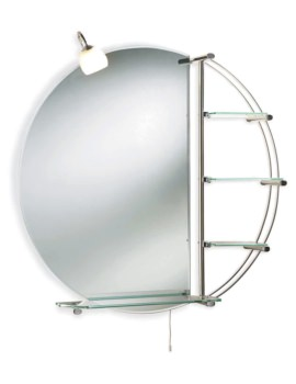 Beo Dana 800mm Round Mirror With Light And Shelves