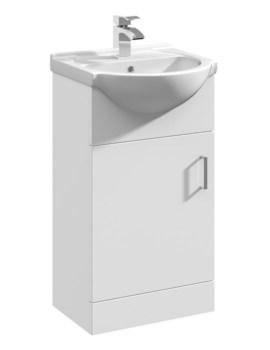 Beo 450 x 300mm Single Door Vanity Unit And Basin Gloss White