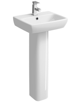 Twyford E100 Square 1 Tap Hole 450 x 350mm Washbasin With Full Pedestal