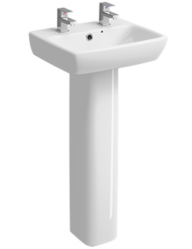 Twyford E100 Square 2 Tap Hole 450 x 350mm Washbasin With Full Pedestal